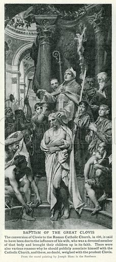 Baptism of the Great Clovis. Illustration for Harmsworth History of the World (1907).