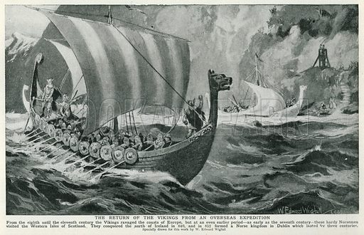 The Return of the Vikings from an Overseas Expedition. Illustration for Harmsworth History of the World (1907).
