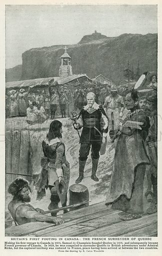 Britain's First Footing in Canada: The French Surrender of Quebec. Illustration for Harmsworth History of the World (1907).