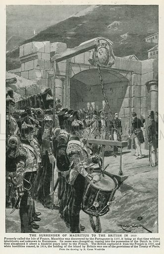 The Surrender of Mauritius to the British in 1810. Illustration for Harmsworth History of the World (1907).