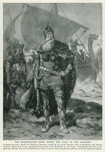 The Scandinavian Hero, Rurik, the First of the Russians. Illustration for Harmsworth History of the World (1907).