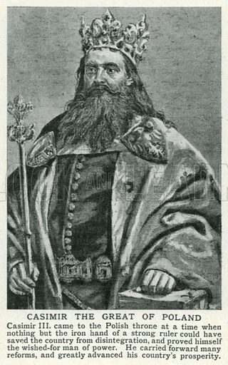 Casimir the Great of Poland. Illustration for Harmsworth History of the World (1907).