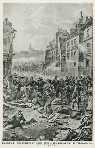 Fighting in the Streets of Paris during the Revolution of February, 1848. Illustration for Harmsworth History of the World (1907).