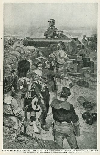 Naval Brigade at Sebastopol: Lord Raglan viewing the Storming of the Redan. Illustration for Harmsworth History of the World (1907).