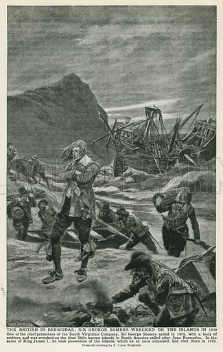 The British in Bermudas: Sir George Somers Wrecked on the Islands in 1609. Illustration for Harmsworth History of the World (1907).