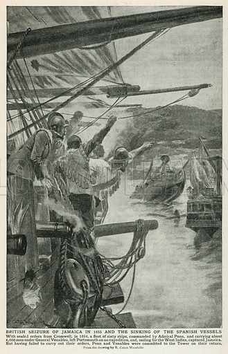 British Seizure of Jamaica in 1655 and the Sinking of the Spanish Vessels. Illustration for Harmsworth History of the World (1907).