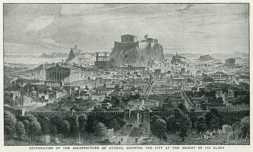 Restoration of the Architecture of Athens, showing the City at the Height of its Glory. Illustration for Harmsworth History of the World (1907).