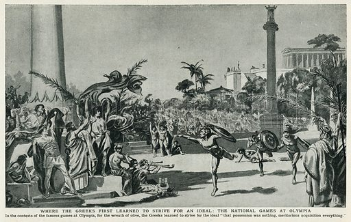 Where the Greeks First Learned to Strive for an Ideal: The National Games at Olympia. Illustration for Harmsworth History of the World (1907).
