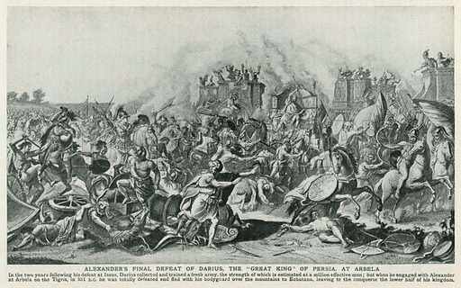 "Alexander's Final Defeat of Darius, the ""Great King"" of Persia, at Arbela. Illustration for Harmsworth History of the World (1907)."