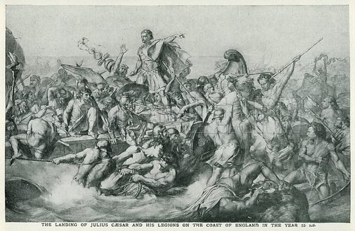 The Landing of Julius Caesar and his Legions on the Coast of England in the year 55 B.C. Illustration for Harmsworth History of the World (1907).