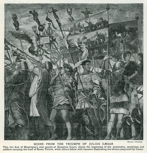Scene from the Triumph of Julius Caesar. Illustration for Harmsworth History of the World (1907).