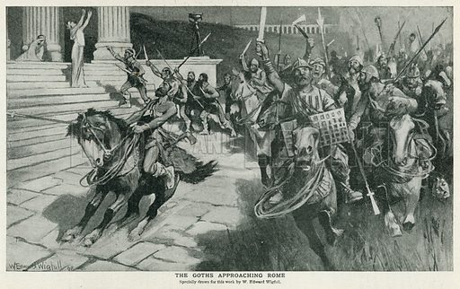 The Goths Approaching Rome. Illustration for Harmsworth History of the World (1907).