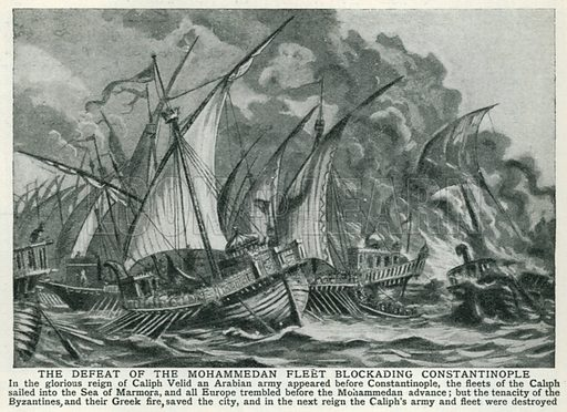 The Defeat of the Mohammedan Fleet Blockading Constantinople. Illustration for Harmsworth History of the World (1907).