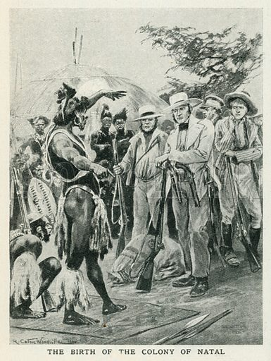 The Birth of the Colony of Natal. Illustration for Harmsworth History of the World (1907).