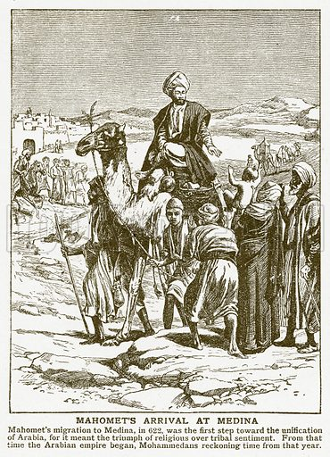 Mahomet's Arrival at Medina. Illustration for Harmsworth History of the World (1907).