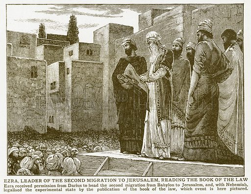 Ezra, Leader of the Second Migration to Jerusalem, Reading the Book of the Law. Illustration for Harmsworth History of the World (1907).