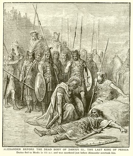 Alexander before the Dead Body of Darius III, the Last King of Persia. Illustration for Harmsworth History of the World (1907).