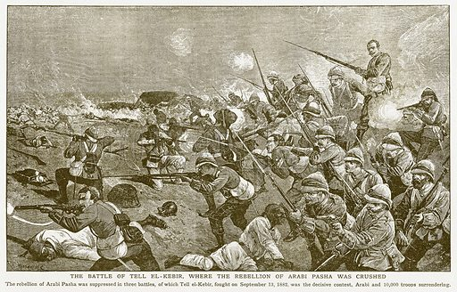 The Battle of Tell El-Kebir, where the Rebellion of Arabi Pasha was Crushed. Illustration for Harmsworth History of the World (1907).