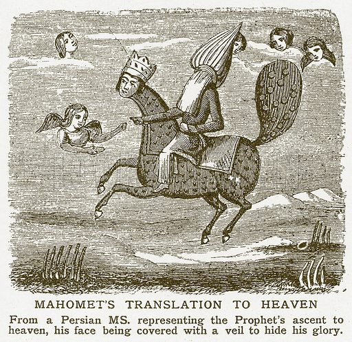 Mahomet's Translation to Heaven. Illustration for Harmsworth History of the World (1907).