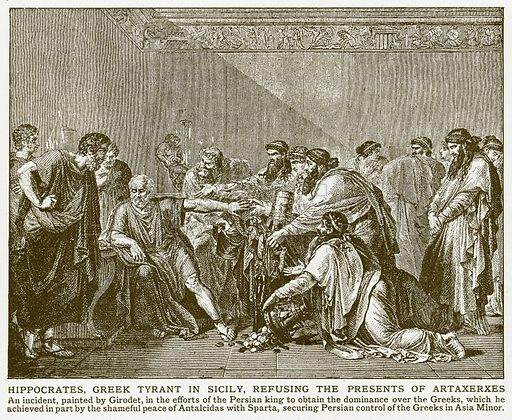 Hippocrates, Greek Tyrant in Sicily, Refusing the Presents of Artaxerxes. Illustration for Harmsworth History of the World (1907).