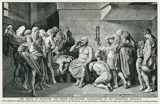 The Death of Socrates, the Greek Philosopher, Surrounded by his Sorrowing Disciples. Illustration for Harmsworth History of the World (1907).