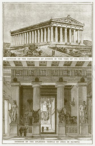 Exterior of the Parthenon at Athens in the Time of its Builders. Interior of the Splendid Temple of Zeus in Olympia. Illustration for Harmsworth History of the World (1907).