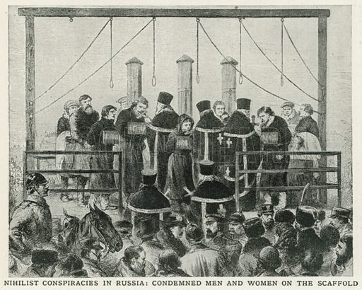 Nihilist Conspiracies in Russia: Condemned Men and Women on the Scaffold. Illustration for Harmsworth History of the World (1907).