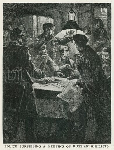 Police Surprising a Meeting of Russian Nihilists. Illustration for Harmsworth History of the World (1907).