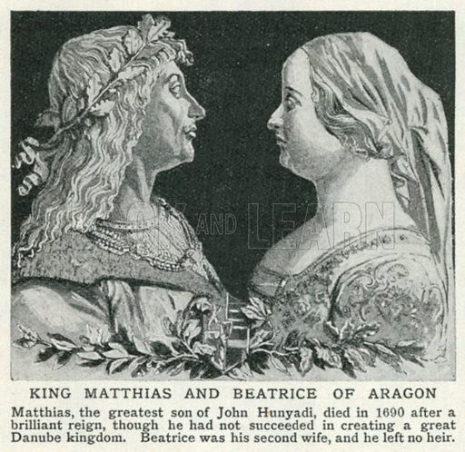 King Matthias and Beatrice of Aragon. Illustration for Harmsworth History of the World (1907).