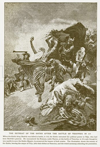 The Retreat of the Goths after the Battle of Vesuvius in 553. Illustration for Harmsworth History of the World (1907).