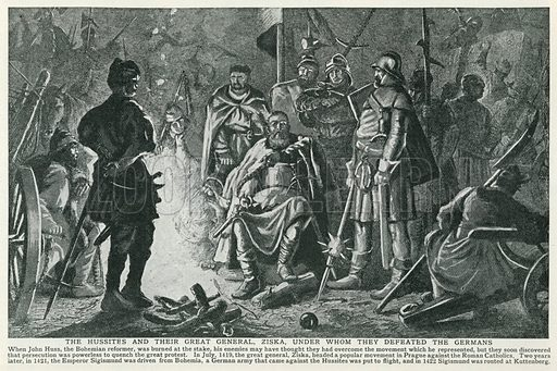 The Hussites and their Great General, Ziska, under whom they Defeated the Germans. Illustration for Harmsworth History of the World (1907).
