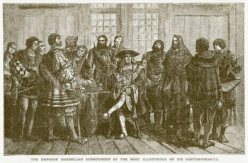 The Emperor Maximilian Surrounded by the Most Illustrious of his Contemporaries. Illustration for Harmsworth History of the World (1907).