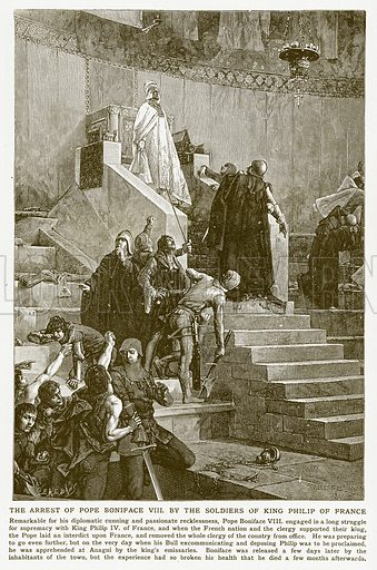 The Arrest of Pope Boniface VIII by the Soldiers of King Philip of France. Illustration for Harmsworth History of the World (1907).