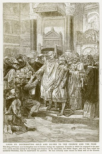 Louis VII Distributing Gold and Silver to the Church and the Poor. Illustration for Harmsworth History of the World (1907).