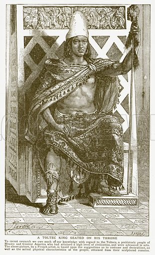 A Toltec King Seated on his Throne. Illustration for Harmsworth History of the World (1907).