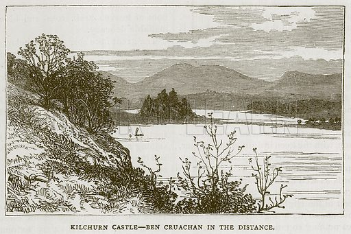 Kilchurn Castle--Ben Cruachan in the Distance. Illustration for Picturesque Scotland by Francis Watt and Andrew Carter (Frederick Warne, c 1880).