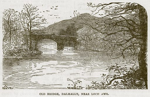 Old Bridge, Dalmally, near Loch Awe. Illustration for Picturesque Scotland by Francis Watt and Andrew Carter (Frederick Warne, c 1880).