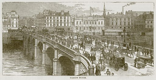 Glasgow Bridge. Illustration for Picturesque Scotland by Francis Watt and Andrew Carter (Frederick Warne, c 1880).