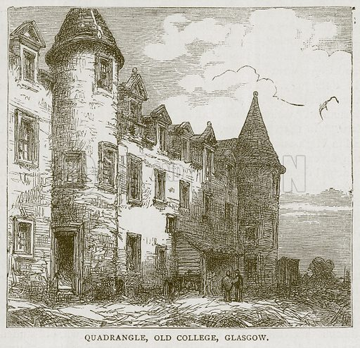 Quadrangle, Old College, Gloasgow. Illustration for Picturesque Scotland by Francis Watt and Andrew Carter (Frederick Warne, c 1880).
