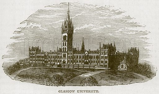 Glasgow University. Illustration for Picturesque Scotland by Francis Watt and Andrew Carter (Frederick Warne, c 1880).