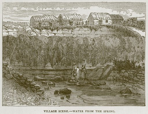 Village Scene.--Water from the Spring. Illustration for Picturesque Scotland by Francis Watt and Andrew Carter (Frederick Warne, c 1880).