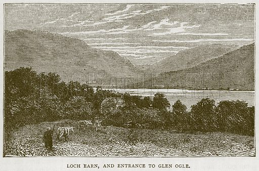 Loch Earn, and Entrance to Glen Ogle. Illustration for Picturesque Scotland by Francis Watt and Andrew Carter (Frederick Warne, c 1880).