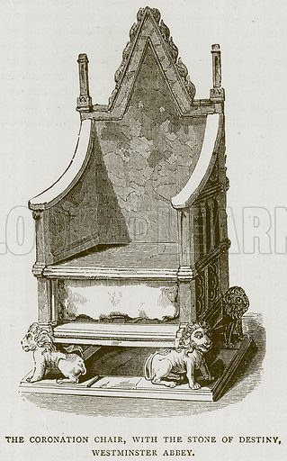 The Coronation Chair, with the Stone of Destiny, Westminster Abbey. Illustration for Picturesque Scotland by Francis Watt and Andrew Carter (Frederick Warne, c 1880).