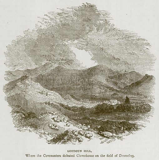 Loudoun Hill, where the Covenanters Defeated Claverhouse on the Field of Drumclog. Illustration for Picturesque Scotland by Francis Watt and Andrew Carter (Frederick Warne, c 1880).