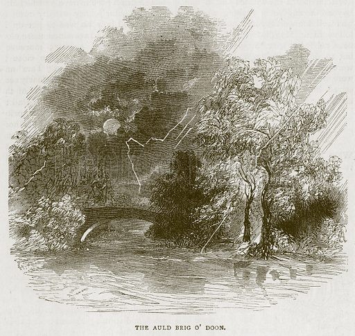 The Auld Brig O' Doon. Illustration for Picturesque Scotland by Francis Watt and Andrew Carter (Frederick Warne, c 1880).