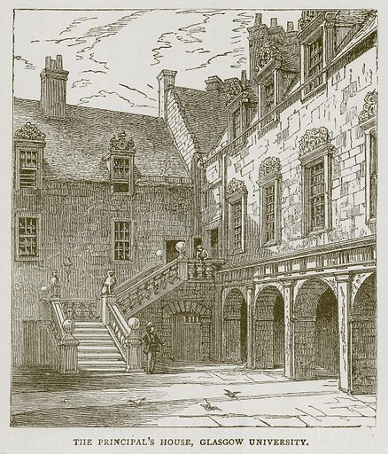 The Principal's House, Glasgow University. Illustration for Picturesque Scotland by Francis Watt and Andrew Carter (Frederick Warne, c 1880).