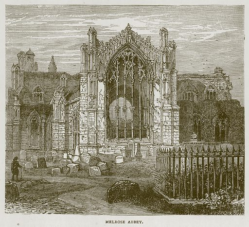 Melrose Abbey. Illustration for Picturesque Scotland by Francis Watt and Andrew Carter (Frederick Warne, c 1880).