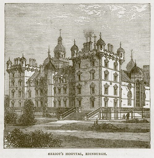 Heriot's Hospital, Edinburgh. Illustration for Picturesque Scotland by Francis Watt and Andrew Carter (Frederick Warne, c 1880).