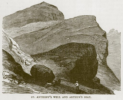 St. Anthony's Well and Arthur's Seat. Illustration for Picturesque Scotland by Francis Watt and Andrew Carter (Frederick Warne, c 1880).