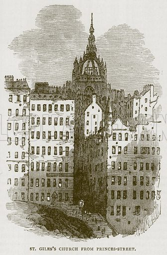 St. Giles's Church from Princes-Street. Illustration for Picturesque Scotland by Francis Watt and Andrew Carter (Frederick Warne, c 1880).